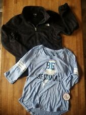 2 Pc Girl's Clothes Lot North The Face Black Fleece Jacket So Shirt Top - 14/16