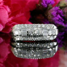Band Ring In Solid 10k White Gold 1.50 Ct Round Cut Diamond Vintage Wedding