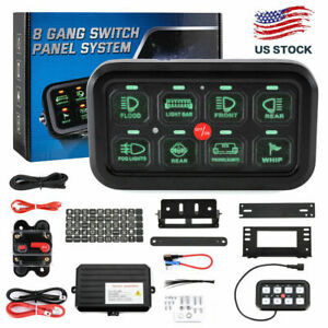 8 Gang Switch Panel On-Off LED Car Switch Panel Circuit Control Universal 12/24V