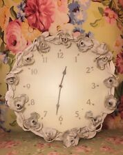 SIMPLY SHABBY CHIC CLOCK METAL ROSES ANTIQUED WHITE TOLE RARE RACHEL ASHWELL