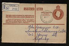Australia postal registered envelope used local use Rg0927
