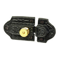 Ornate Cast Iron Slide Cabinet Latch Brass Knob | Renovator's Supply
