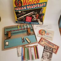 Vintage Indian Beadcraft Set Kit Loom Glass Tube Seed Beads in box Outfit no 210
