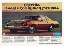 1977 Chevrolet Chevelle Original Advertisement Print Art Car Ad J883