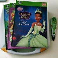 LeapFrog Tag Reader Lot Pen 3 Books Case Disney Princess Tiana Tinker Bell