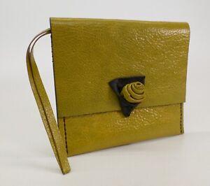 Pebbled Leather Clutch Wristlet Handbag Purse Bag Hand Made Pea Green