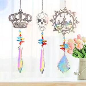 Set 3 Crystal Suncatcher Metal Castle Crown Skull Ornament Hanging Pendant Decor