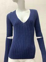 NWT BCBG MAXAZRIA Women's Ribbed Blue Pullover Sweater