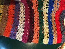"""Large multi-colored crochet afghan coverlet throw handmade clean 66"""" x 61 Soft"""