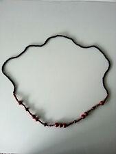 bisutería Joya Mujer Cadena de madera negro lila 116cm largos Collar Cadena #25