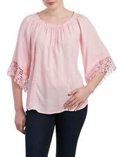 MELISSA PAIGE Casual Pink Boho Crochet Trim Wide Sleeve Peasant Blouse, Size 2X