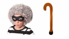 World Book Week Childs Gangsta Granny Grey Wig Walking Stick Mask Fancy Dress