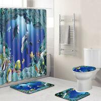 4PCS New Non Slip Toilet Seat Polyester Cover Mat Set Bathroom Shower Curtain
