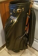 Bennington Black Leather Golf Bag with Rain Cover and Strap