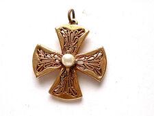 Lovely Vintage Maltese Cross With Pearl Center Pendant