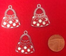 Set of 3 x Lovely MINNIE MOUSE SPOTTED HANDBAG Enamel Charm Pendants (R5)