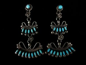 Vintage Zuni Earrings - Sterling Silver and Turquoise