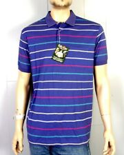 vtg 70s 80s NOS deadstock Fairway Purple Striped Polo Shirt Pocket soft thin XL