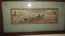 """Rare Nautical Silk Embroidered """"Stephensgraph"""" of U.S Surf Boat on a Rescue"""