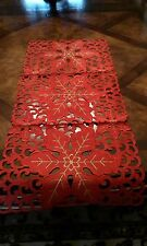 "15""x34'' Embroidered Christmas Tablecloth Cutwork Table Runner Home Party Decor"