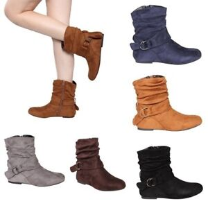 Ladies Women Faux Suede Wide Ankle Boots Casual Slouch Flat Boots Zip Shoes Size