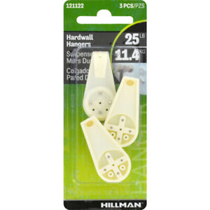 Hillman 121122 Plastic White 15 lbs. Capacity Hardwall Hook 1 L in. (Pack of 10)