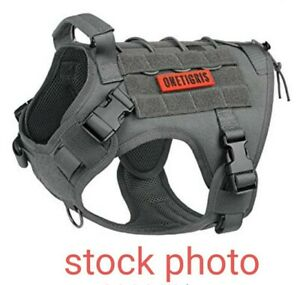 ONE TIGRIS CORDURA FABRIC TACTICAL DOG VEST HARNESS gray MEDIUM NEW WITH TAGS