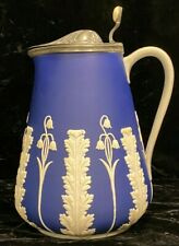 Antique Dudson Pottery Cobalt Blue Jasper Ware Pitcher Acanthus & Blue Bells