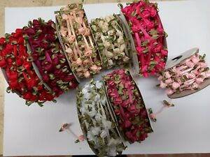Ribbon roses on ribbon .5yards various colours