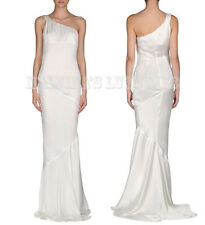CLASS ROBERTO CAVALLI WHITE GOWN SATIN ONE SHOULDER DRESS sz IT 42 US 4/6