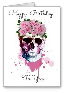Gothic Skull Emo Happy Birthday Card Watercolour Effect Day Of The Dead