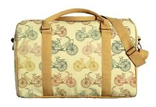 Canvas Duffle Luggage Travel Bag Printed Colorful Bicycle Sketch Pattern WAS_42