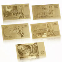 10PCS GBP British £1 - £50 Queen Elizabeth II 24K Gold Banknote Collection Gift
