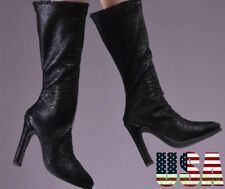 "1/6 Scale Women Leather Boots For 12"" Phicen Hot Toys Kumik Female Figure USA"