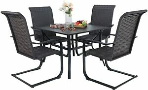 Outdoor Patio Furniture Set of 5 Rattan Chair Metal Table Dining Wicker Armchair