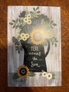 'HERE COMES THE SUN' Flowers Pitcher Block Sign Farmhouse Shelf Sitter New