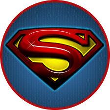 "A 7.5"" Round Superhero Superman Cake Topper ICING"
