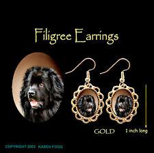 Newfoundland Dog - Gold Filigree Earrings Jewelry