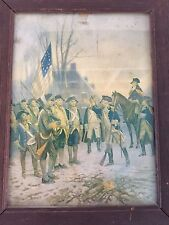 Antique Framed Print- General George Washington And His Troops At Valley Forge