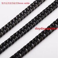 """7""""-40"""" Stainless Steel Mens 9/11/13/16/19mm Black Cuban Curb Link Chain Necklace"""