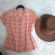 Camicetta a maniche Corte arancione fantasia fiorellini vintage tg 40 camicia