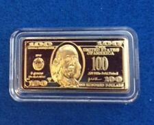5 GRAM 100 MILLLS GOLD $100  BULLION BARS .999 FINE 24K BULLION