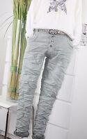 LEXXURY MODA Boyfriend Jeans Baggy Hose Vintage Chino Pant WASHED GRÜN MINT L 40