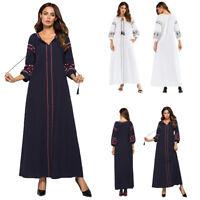 Womens Muslim Kaftan Islamic Arab Jilbab Abaya Embroidery Long Sleeve Maxi Dress