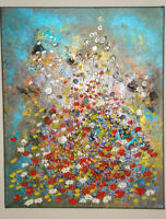 Original Acrylic Painting Abstract Summer Flowering Field Textured canvas Art