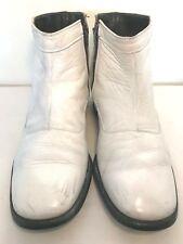 Rare VTG O'Sullivans Ankle Boots Leather Side Zip White Mod Hipster Mens Sz 10D