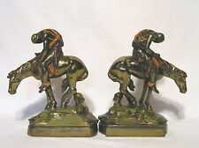 """End of the Trail<Statue>Pair of Plated Metal Bookends Weighted 8"""" Tall Very Nice"""