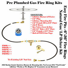 """FR12K++ 12"""" Fire Ring Complete Deluxe Pre Plumbed Gas Fire Pit Kit 316 Stainless"""