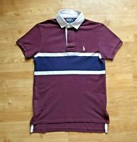 Ralph Lauren Deep Red Rugby Polo Shirt Size S Custom Fit Maroon Cotton Striped