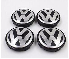SET OF 4 VW VOLKSWAGEN CHROME CENTER WHEELS HUB CAPS LOGO 3B7601171XRW